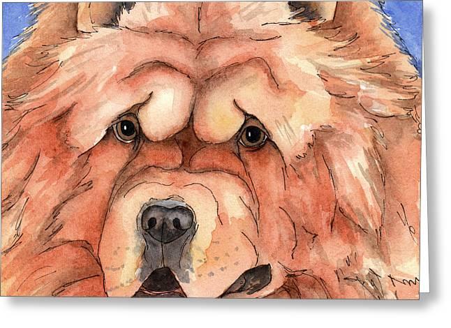 Golden Chow Chow Dog Greeting Card by Cherilynn Wood