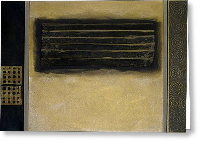 Faux Finish Greeting Cards - Golden Coin Triptych Greeting Card by Marlene Burns