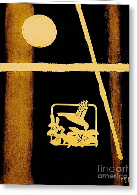 Religious Mixed Media Greeting Cards - Golden Cross Greeting Card by Marsha Heiken