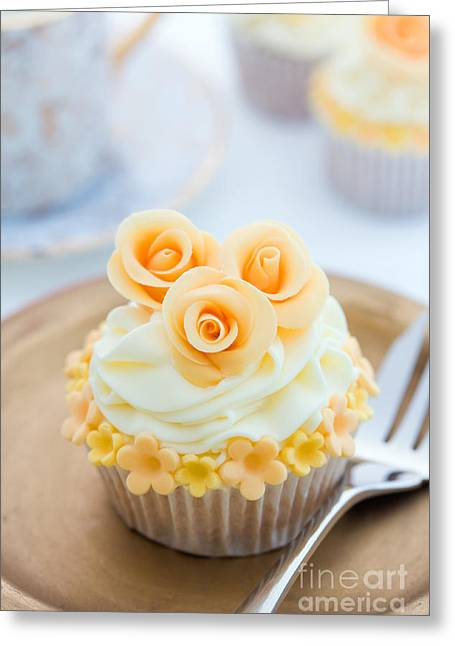 Tea Party Greeting Cards - Golden cupcake Greeting Card by Ruth Black
