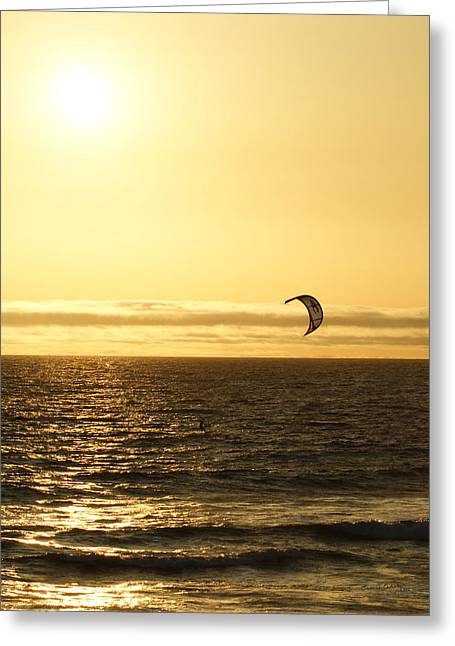 Kite Surfing Greeting Cards - Golden Day Greeting Card by Ernie Echols