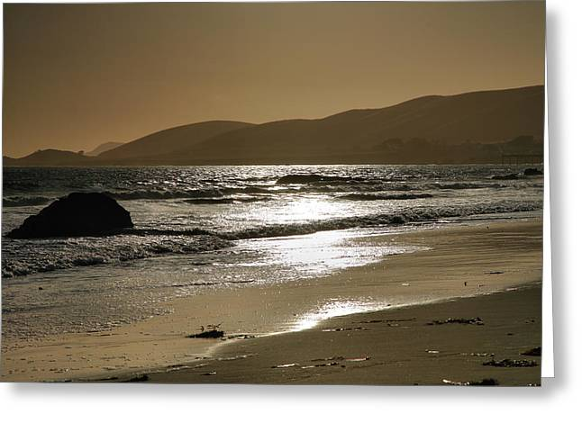 Pacific Ocean Prints Greeting Cards - Golden Day on Morro Bay Greeting Card by Steven Ainsworth