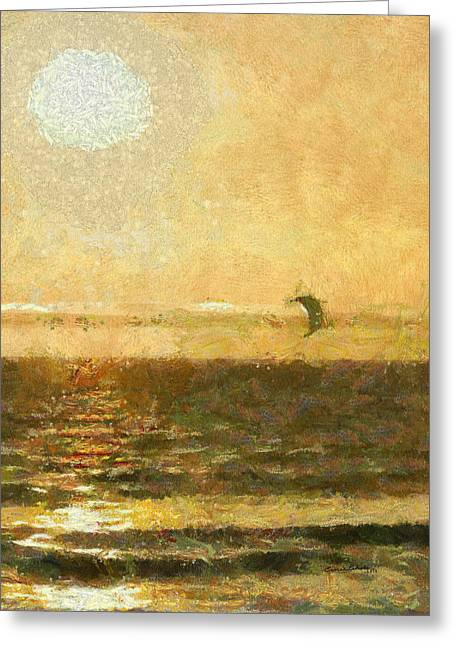 Para Surfing Greeting Cards - Golden Day Painterly Greeting Card by Ernie Echols