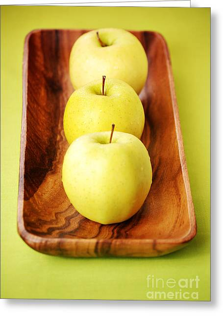 Copyspace Greeting Cards - Golden Delicious Apples Greeting Card by HD Connelly