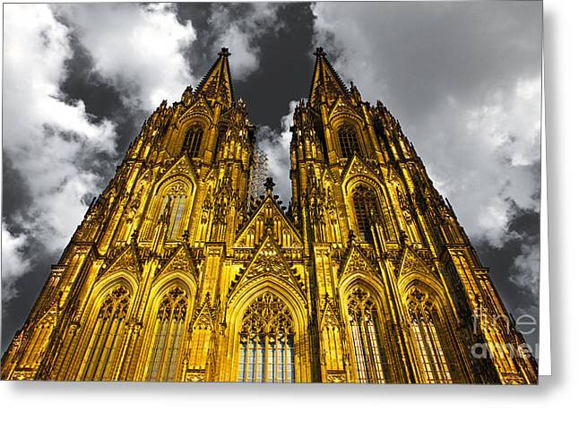 Fenster Photographs Greeting Cards - Golden Dome of Cologne Greeting Card by Thomas Splietker