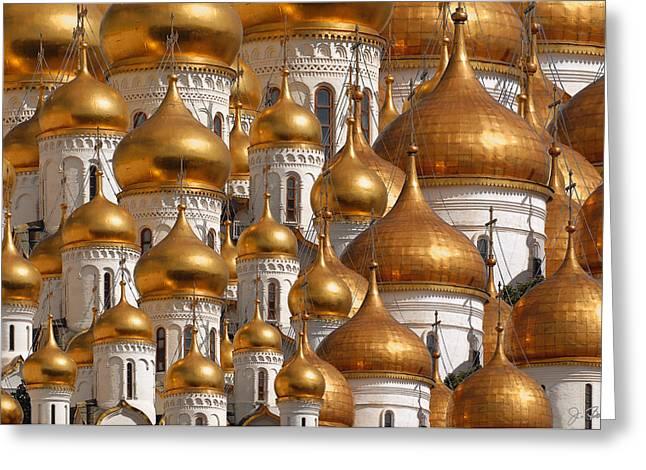 Onion Domes Greeting Cards - Golden Domes Greeting Card by Joe Bonita