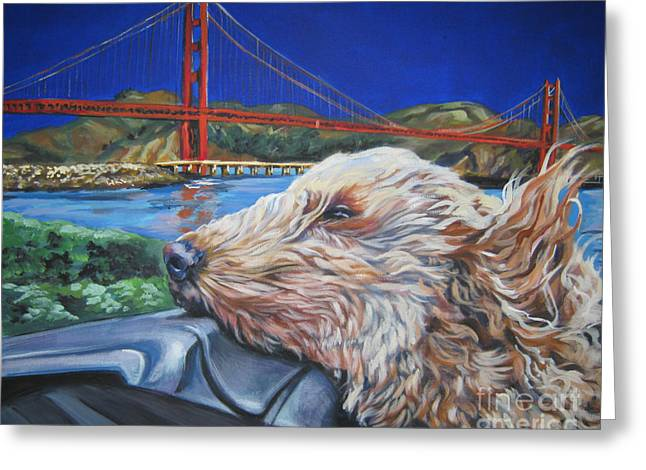 Golden Gate Paintings Greeting Cards - Golden Doodle Cruising San Fransisco Greeting Card by Lee Ann Shepard