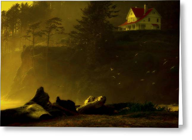 Historic Home Greeting Cards - Golden Dusk at Heceta Greeting Card by Bonnie Bruno