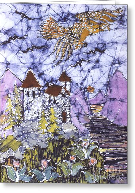 Ring Tapestries - Textiles Greeting Cards - Golden Eagle Flies Above Castle Greeting Card by Carol  Law Conklin