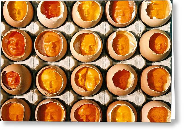 Yellows Reliefs Greeting Cards - Golden Eggs 2 Greeting Card by Mark Cawood