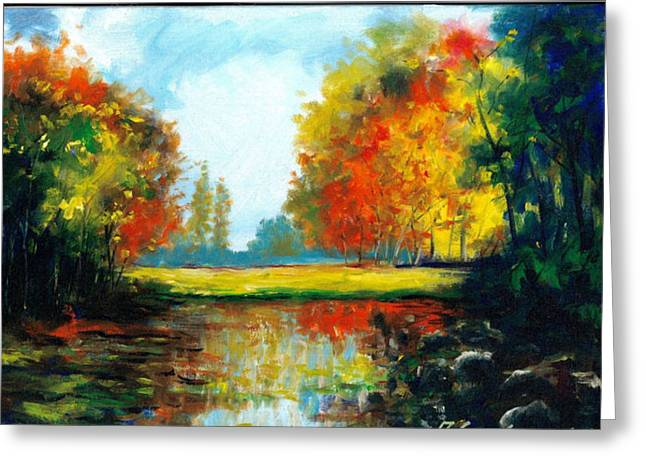 Acrylic Art Greeting Cards - Golden Fall Greeting Card by Andrew Semberecki