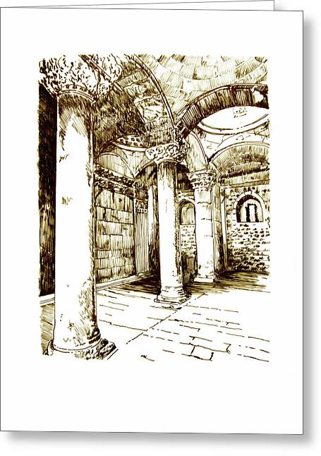 Golden Gate Drawings Greeting Cards - Golden Gate - Inside Greeting Card by Ron Cantrell