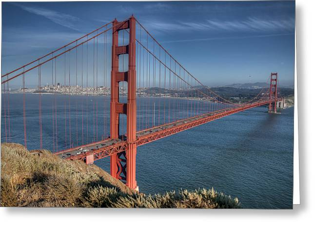 Himmel Greeting Cards - Golden Gate Greeting Card by Andreas Freund