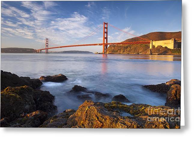 Sausalito Greeting Cards - Golden Gate at dawn Greeting Card by Brian Jannsen