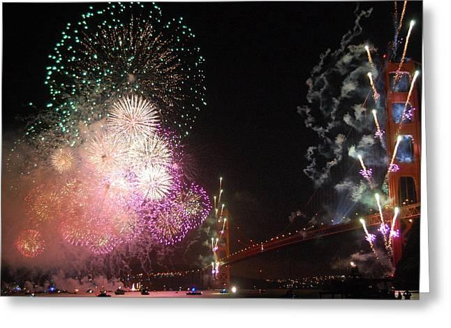 Golden Gate Bridge 75th Anniversary Fireworks Greeting Card by Michael Meinberg