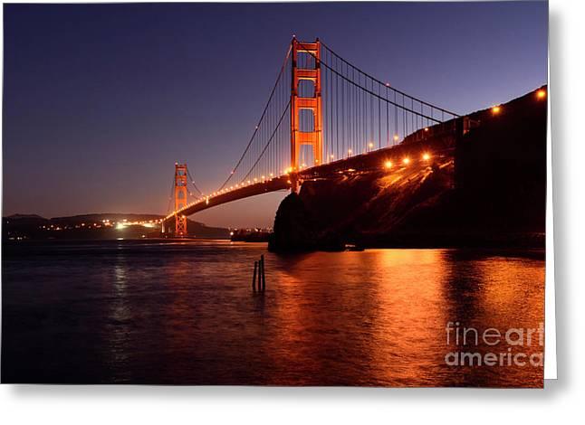 Golden Gate Bridge At Night 2 Greeting Card by Bob Christopher