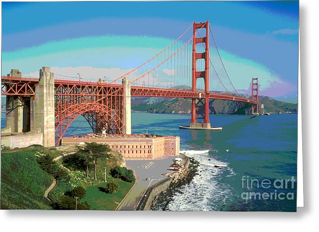 Sausalito Greeting Cards - Golden Gate Bridge Bay Side Greeting Card by Padre Art