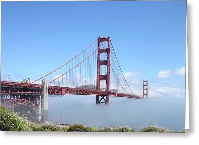 San Fransico Greeting Cards - Golden Gate Bridge Greeting Card by Helen Haw