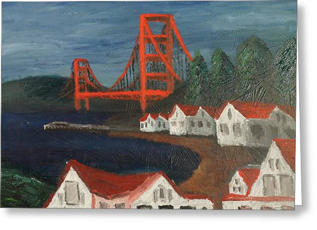 Sausalito Paintings Greeting Cards - Golden Gate Bridge Greeting Card by Kyle McGuigan