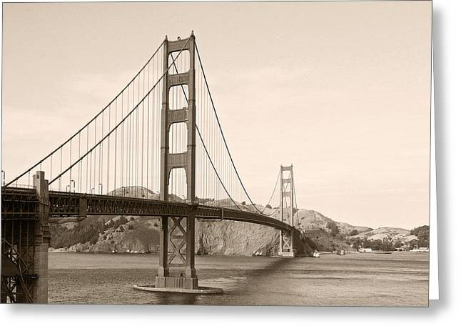 Famous Bridge Greeting Cards - Golden Gate Bridge San Francisco - A thirty-five million dollar steel harp Greeting Card by Christine Till