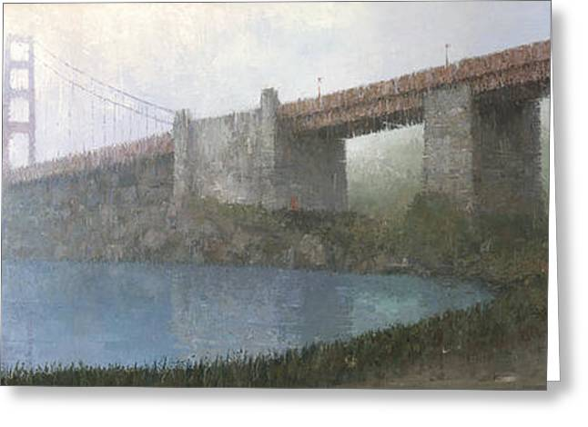 Golden Gate Paintings Greeting Cards - Golden Gate Bridge Greeting Card by Steve Mitchell