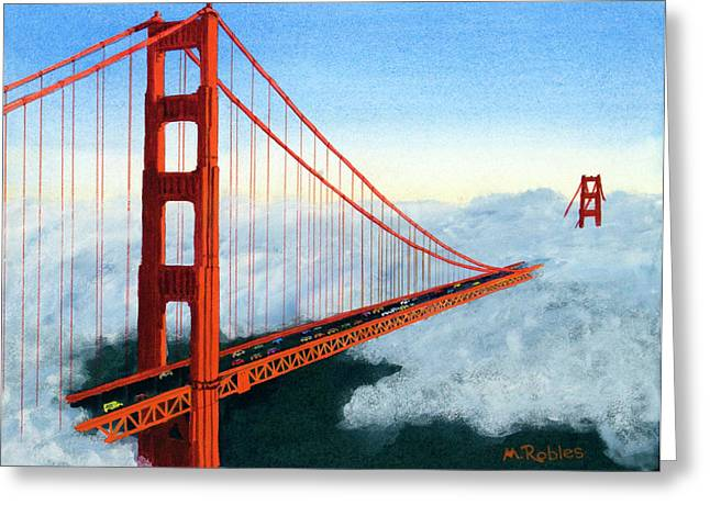 Golden Gate Paintings Greeting Cards - Golden Gate Bridge Sunset Greeting Card by Mike Robles