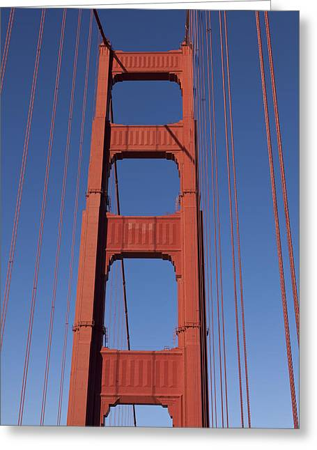 Golden Gate Greeting Cards - Golden Gate Bridge Tower Greeting Card by Garry Gay