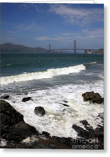 California Big Wave Surf Greeting Cards - Golden Gate Bridge with Surf Greeting Card by Carol Groenen