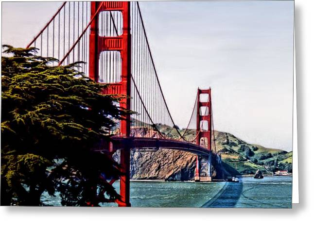 Marin County Greeting Cards - Golden Gate Greeting Card by DJ Florek