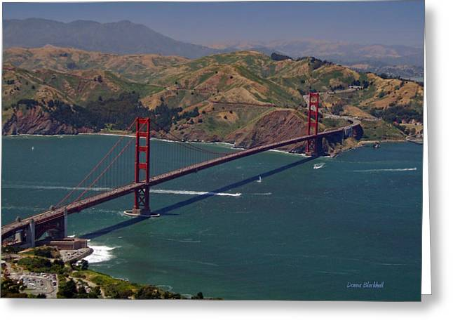 Marin County Greeting Cards - Golden Gate Greeting Card by Donna Blackhall