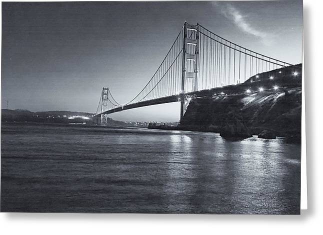 Marin County Greeting Cards - Golden Gate In Black And White Greeting Card by Tom Singleton