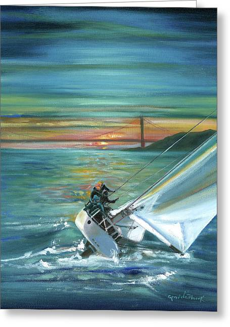 San Francisco Bay Drawings Greeting Cards - Golden Gate Sunset Sailors Greeting Card by Graciela Placak