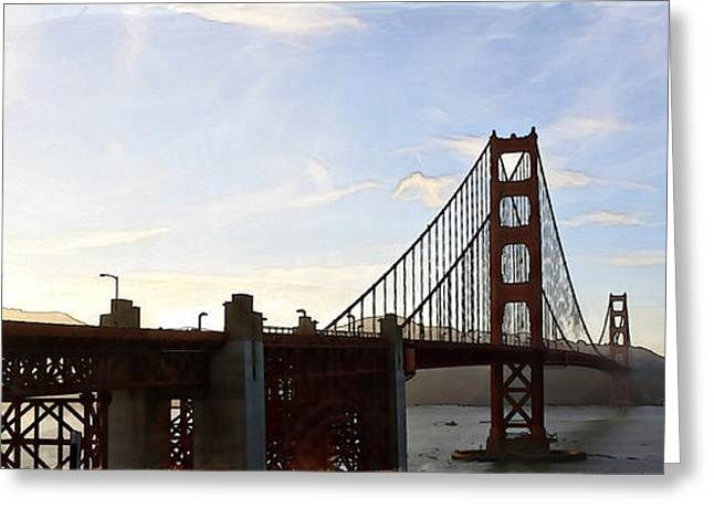 Paint Photograph Greeting Cards - Golden Gate Watercolor Greeting Card by Sean Gillespie