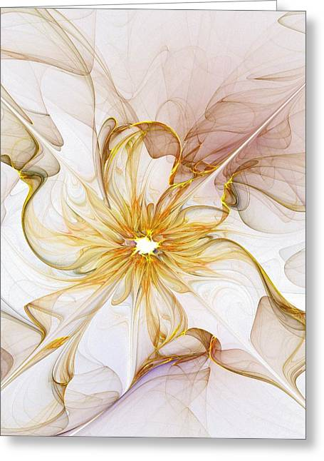 Digital Flower Greeting Cards - Golden Glow Greeting Card by Amanda Moore