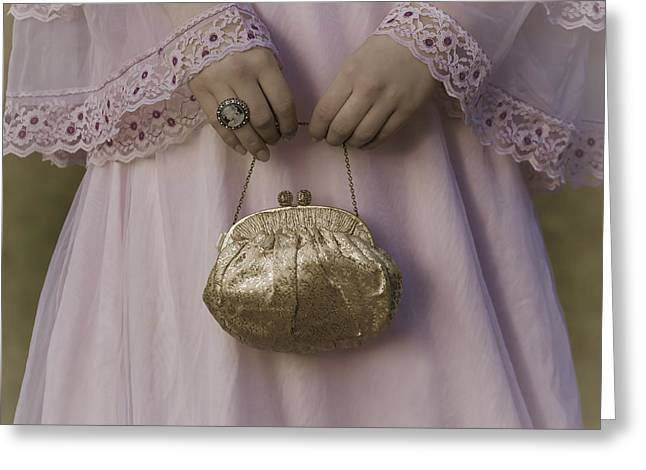 Jewellery Greeting Cards - Golden Handbag Greeting Card by Joana Kruse