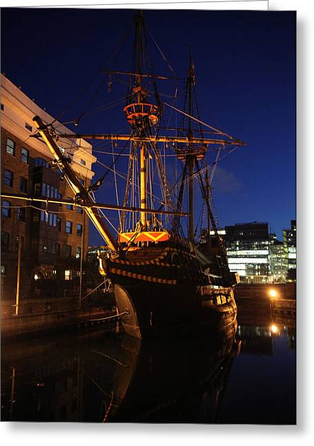 Hinde Street Greeting Cards - Golden Hinde Greeting Card by Jez C Self