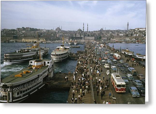 Vehicle Of Life Greeting Cards - Golden Horn Ferries Dock At Ramps Greeting Card by Otis Imboden