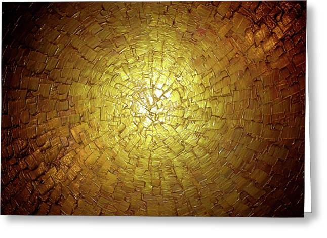 Contemporary Abstract Sculptures Greeting Cards - Golden Illusion Greeting Card by Daniel Lafferty