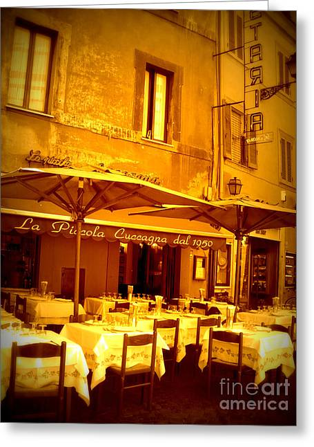Patio Table And Chairs Digital Art Greeting Cards - Golden Italian Cafe Greeting Card by Carol Groenen