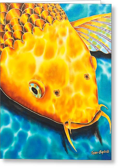 Pond Tapestries - Textiles Greeting Cards - Golden Koi Greeting Card by Daniel Jean-Baptiste