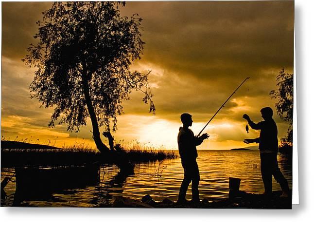 Golden Lake - 2 Greeting Card by Okan YILMAZ