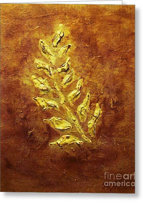 Relief Mixed Media Greeting Cards - Golden Leaf Greeting Card by Marsha Heiken