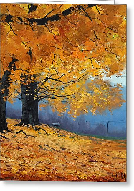 Fall Trees Paintings Greeting Cards - Golden Leaves Greeting Card by Graham Gercken