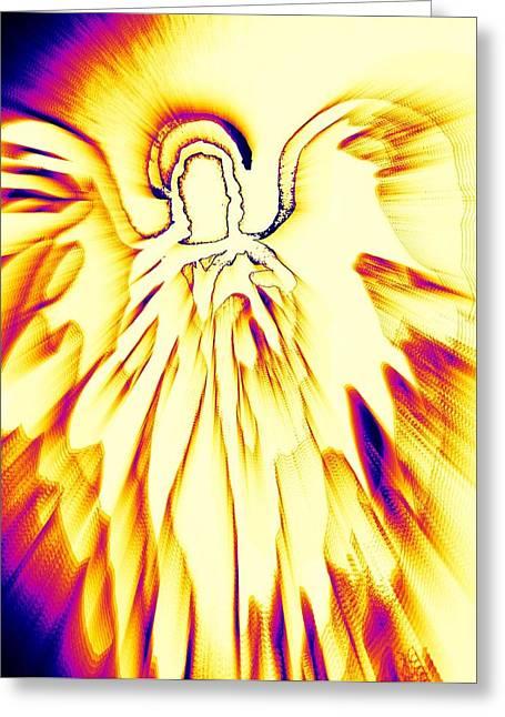 Empower Greeting Cards - Golden Light Angel Greeting Card by Alma Yamazaki