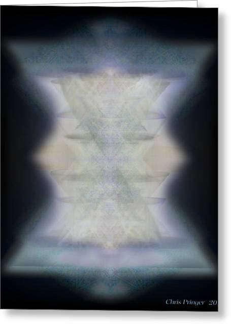 Sacred Geometry Greeting Cards - Golden Light Chalices Emerging from Blue Vortex Myst Greeting Card by Christopher Pringer