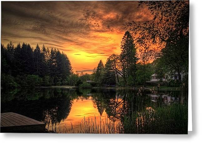 Sunset Posters Greeting Cards - Golden Light On Loch Ard Greeting Card by Amanda Finan