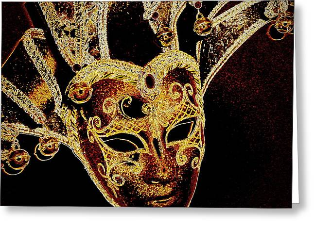 Jester Greeting Cards - Golden Mask Greeting Card by Lori Seaman