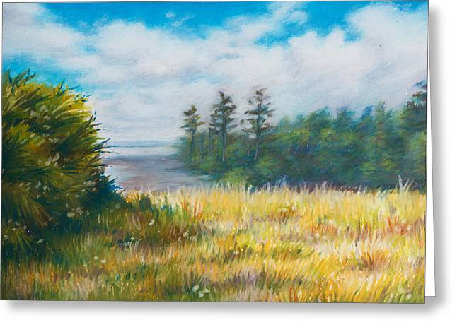 Pine Tree Drawings Greeting Cards - Golden Meadow In The Sun Greeting Card by Anna Abramska