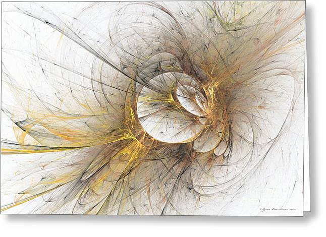 Interior Still Life Mixed Media Greeting Cards - Golden memories - abstract art Greeting Card by Abstract art prints by Sipo