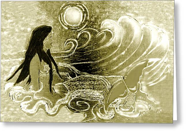 Fin Pyrography Greeting Cards - Golden Mermaid Greeting Card by Tisha McGee